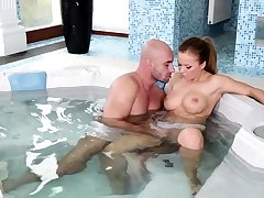 Shower and blowjob be incumbent on brunette milf