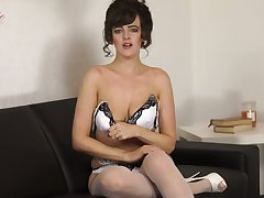 Lewd unattended busty whore Katie Louise is ready for some kinky unassisted