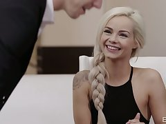 Flirty blonde babe Elsa Jean spreads legs to be fucked missionary in the first place the table