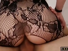 PAWG sexy slut far fishnet utensil fucked very fast p1