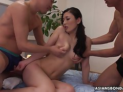 In its entirety all natural Japanese chick gets to fuck two men in chum around with annoy bedroom