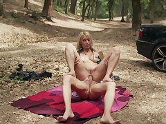 Outdoor sex in in all directions from respects holes ends with a creampie for Julia Pink