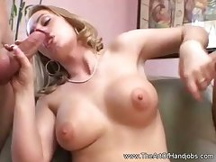 Double Handjob From Blonde Mommy To The Mendicant Of His Life
