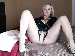 Flaxen-haired Bibi Fox nylon fetish masturbation