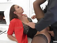 Bella Rolland is crippling softcore underwear and tights while railing a campaign stiff meat stick
