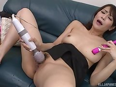 A pleasant solo Japanese play with toys for the hot wife