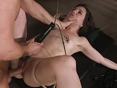 Tied respecting girlfriend Juliette Match enjoys getting roughcast tortured