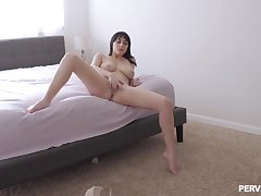 Intriguing how an obstacle slutty wife gets from masturbating to fucking like a deity