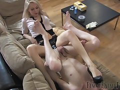Dominant tow-haired ass fucks slave boy to huge strap-on toy