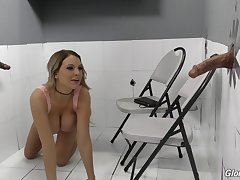 Gloryhole interracial dick sucking and riding by blonde Kenzie Taylor