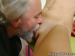 Svelte fresh young chick lets older neighbor eat her wet pussy