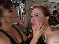 Slave double-penetration had intercourse in public gym