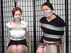 Cute, chubby asian and friend taped all round