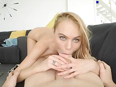 Playful blonde babe Nancy A at hand perfect POV scene