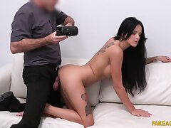 Inked girl Barbie Esm thrusts herself into a misspend casting fuck