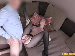 Young redhead Ella Hughes shines during hot casting fuck