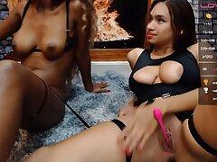 Black added to white girls Fetish masturbation on webcam