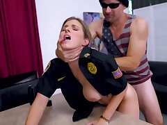 Light-Haired cop is getting plowed foreign the back while on duty and lovin' drenching a plenty of