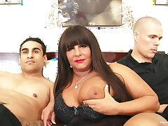 Busty BBW milf gets pounded apart from two young guys