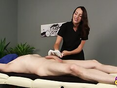 Liz Rainbow is a masseuse who can't resist touching their way clients' dick