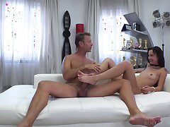 Rocco butt fucks skinny amateur after she gives foot job