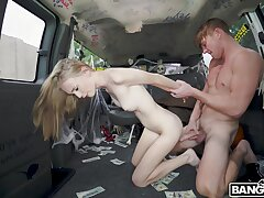 Hardcore pussy ride herd on in the back of the van with Alicia Williams