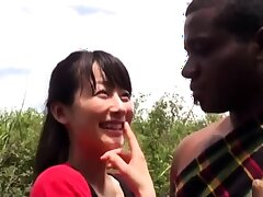 Ebony dolls interracial outdoor blowjob