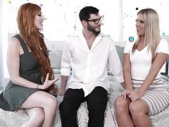 FFM threesome with wife Lauren Phillips and beau Candice Dare