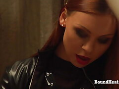 Lesbian Madame In Leather Bangs A handful of Slaves With Strapon