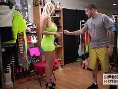 Attractive blonde descendant Amber Alena flashes boobies while changing clothes