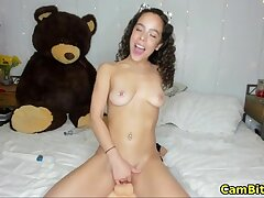 Busty teen loves shafting her pussy with diverse toys