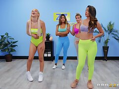 Abella Gamble coupled with Katana Kombat hook up after a fitness class session