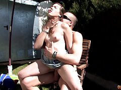 Hardcore outdoors fucking with cock hungry brunette who loves cum