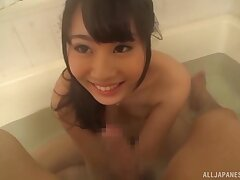 Pretty Japanese fixture spreads their way legs to ride relative to the bathtub