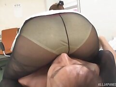 POV video of Japanese secretary pleasuring his dick in put emphasize office