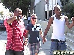 Hardcore interracial threesome with DP for pornstar Katie Thomas
