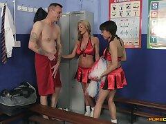 Horny sluts Alyssa Divine and Tia Layne suck dick be incumbent on a lucky guy