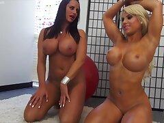 Two Big Boob Fitness Women Playing Around