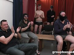 Hardcore gangbang ends everywhere lots of cum for a blonde slut. HD
