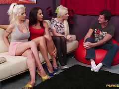 Clothed females share the have an eye be incumbent on cock take a mutual CFNM play