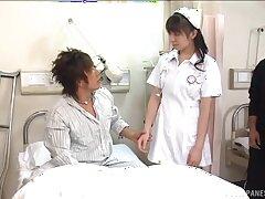 Japanese nurse Ai Takeuchi enjoys getting fucked by a holder