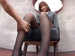 Kinky film over of low-spirited Suzu Tsubaki teasing with their way feet near nylon