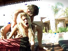 Horny babe Kendall Brooks enjoys getting fucked in the outdoors pool