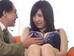 Shy Japanese girl fro big natural tits gets undressed by a perv