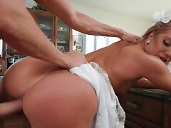 Chubby blonde nailed by hung lover before intermixing