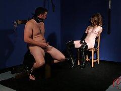 Undisguised man masturbates while observing provocative Brook Logan