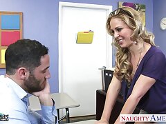 Sexy situation bombshell seduces her colleague together with gets poked missionary