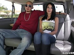 Comely babe Mia Hurley talks with a outlander in the backseat