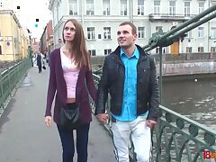 Dude talks a tall European babe into having anal sex with him