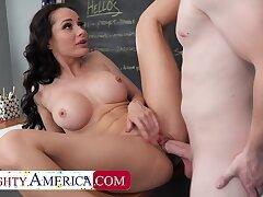 Pernicious America: Hot Russian teacher, Crystal Rush, drains her student's balls on PornHD